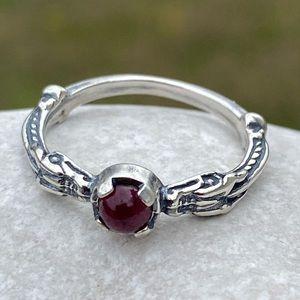 Celtic Dragon Ring Sterling Silver w/ Garnet Sz 7